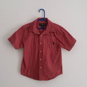 US POLO Boy 5/6 Button Down Short Sleeve Red Shirt